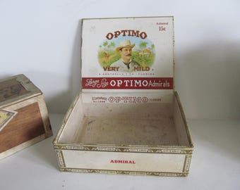 Optimo Cigar Box Vintage Cigar Box Optimo Cigar Labels Cigar Box Tobacciana Antique Cigar Box Vintage Cigar Boxes smoke Shop Decor