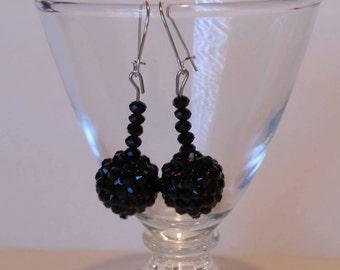 Black Jet Faceted Sparkly Handmade Earrings