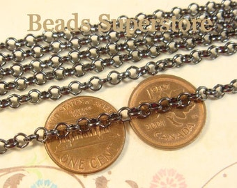4 mm Gunmetal Rolo Chain - Nickel Free and Lead Free - 3 meters (about 10 feet)