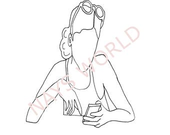 Digital Stamp,Text Me, Female texting, Female on Cell Phone,  Digi Stamp,Stamps, female digital stamp