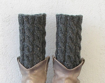 Hand Knitted Boot Cuffs Leg Warmers  CHARCOAL TWEED, Boot toppers Short boot socks