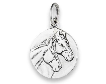 "Sterling Silver Two Horses Pendant on 18"" silver chain"