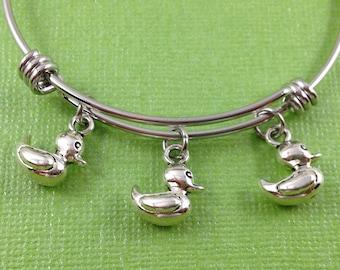 Duck Charm Bracelet, Duck Bangle, Duck Charm Bangle, Get Your Ducks in a Row Charm Bracelet, Duck Charm, Gift for Her