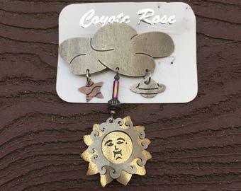 Vintage Jewelry Jody Coyote Sun Cloud Planet Star Celestial Pin Brooch