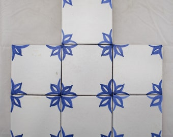 7 - Pc. Set Of Hand Painted Blue & White Tiles