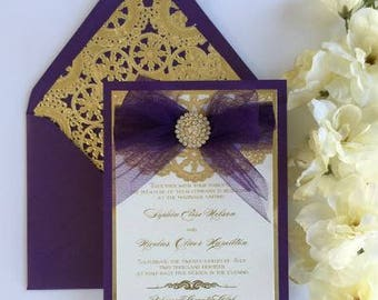 Purple and Gold Invitation with Tulle