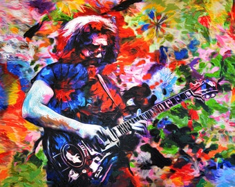 Jerry Garcia Art, Grateful Dead Original Painting Print, Jamband Art