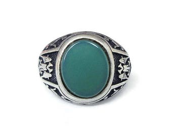 Sterling Chrysoprase Double Headed Eagle Ring - Masonic Symbol, Russian Coat of Arms, Sterling Ring, Vintage Ring, Size 9