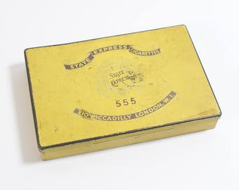 1950s Old Empty Cigarette Tin Yellow with Gold Text by State Express Cigarettes