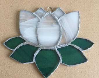 Stained glass lotus flower suncatcher in either wispy white or purple