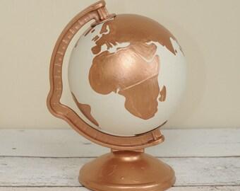 Hand Painted White and Copper World Globe Money Box | Rose Gold | Bronze | Piggy Bank | Travel Fund | Wanderlust | Savings | Personalised