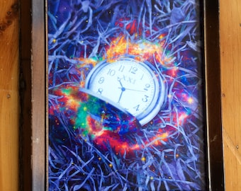 Whimsicial Fantasy Surreal Daydream Time Clock Watch Framed Photo Art Print
