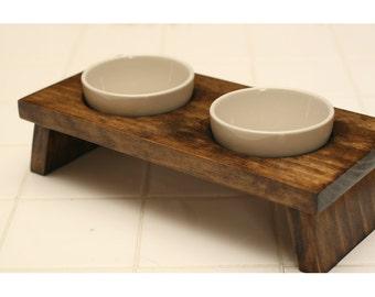 Elevated Pet Bowl / Cat Food Bowl / Mini Dog Food Bowl / Designer Pet Bowl / Ceramic Pet Bowl