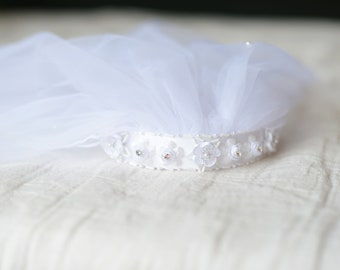 The Ava First Communion Veil in white with beaded headband