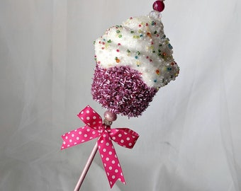 Pink Cupcake Birthday Wand