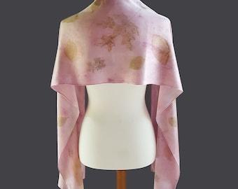 Botanical Print Silk Scarf, Pink and Gold Leaf Prints, Ecoprint Scarf