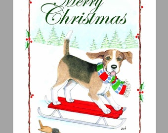 Beagle Christmas Cards, Box of 16 Cards and 16 Envelopes