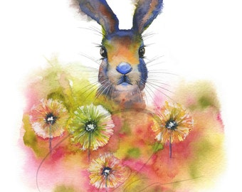 Peekaboo - Rabbit, Bunny, Cute, Cuddly, Cottontail Rabbit, Flowers, Spring, Animal Available in Paper and Canvas by Olga Cuttell