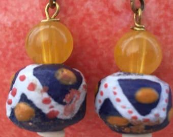 Hand Painted African Bead Pierced Earrings