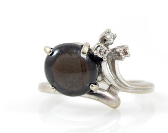 Black Star Sapphire and Diamond Ring 14K White Gold - X4173