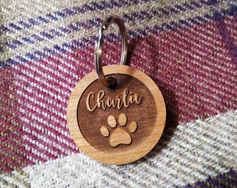 Wooden Pet Name Tag, Pet Id tag, Dog tag, dog name tag, wooden dog name tag, personalised dog tag, personalised pet Id tag
