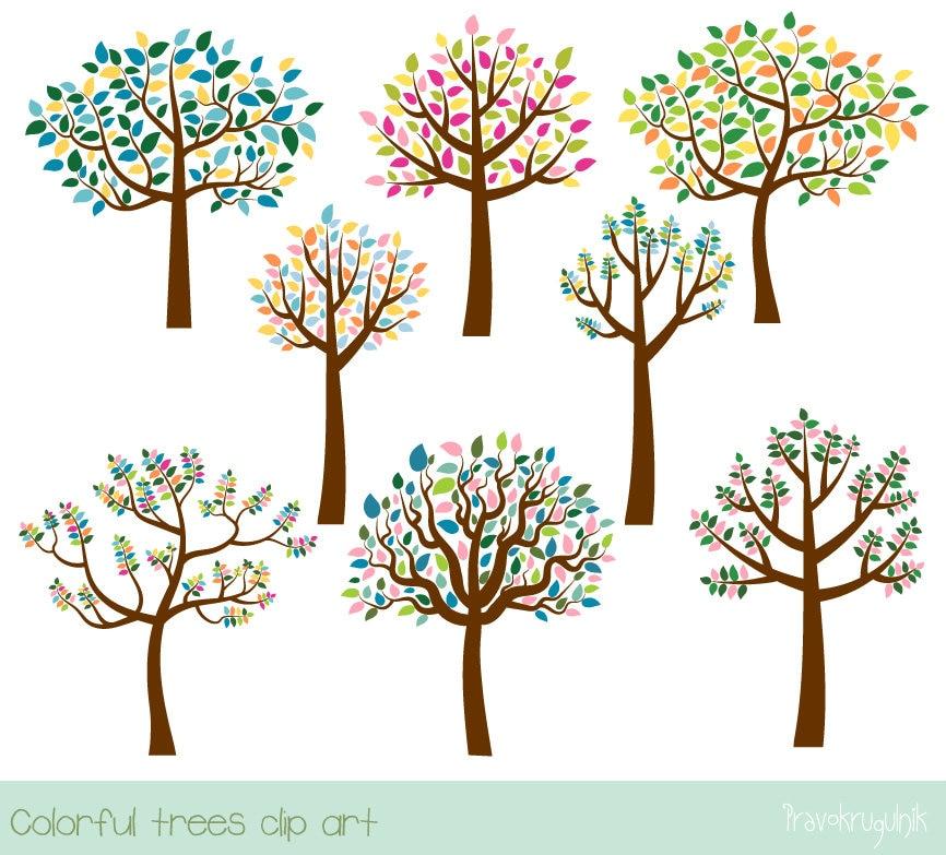colorful tree clipart family tree clip art digital leafy