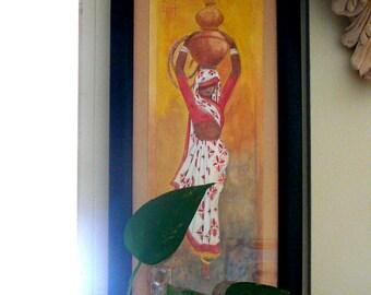 Original watercolor painting, Indian village girl, sketch painting,wall art, original wall art, ethnic india,