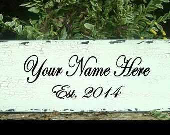 Personalized Wood Sign Wedding Sign 24 x 8 Custom Sign Name Sign
