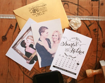 "Wedding Save the Date Stamp, DIY Save the Dates, Engagement Photos, Calendar Save the Date, 4"" x 5"""