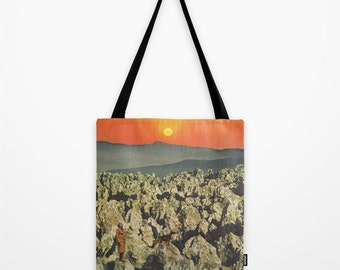 Tote Bag for your travels - when the dream has us we are filled with longing - surreal collage art for the dreamer