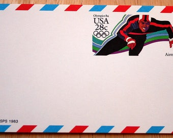 9 Mint USPS Airmail Stamped Postcards--Scott #UXC21--Olympics Speed Skater 28c--1984--Shipping Included