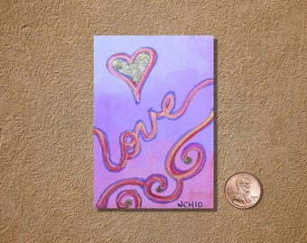 Love Heart on Pink ACEO Original Watercolor Painting