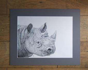 BLACK RHINO original pencil drawing by Tracey Bryant