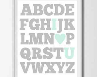 ABC Print Nursery Printable Wall Decor Alphabet Print Baby Boy Nursery Wall Art I Love You Print Aqua Grey Nursery Education Print I Heart U