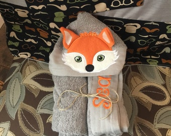 Fox hooded towel for bath, pool, beach, kids present