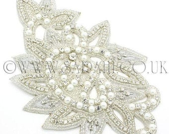 CRYSTAL PEARL beaded Rhinestone stone applique,motif, edging,trim,sequins,beads