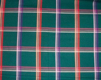 Vintage green plaid fabric