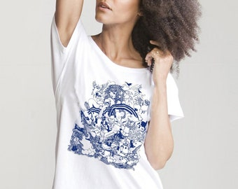 Organic cotton loose fit womens t-shirt with hand printed Island print