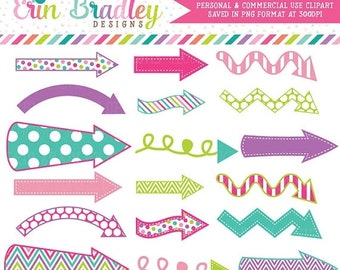 80% OFF SALE Arrows Clipart Graphics Pink Purple Green Blue Digital Arrow Clip Art Personal & Commercial Use - Instant Download