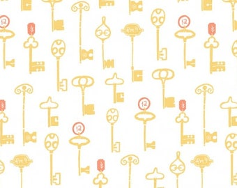 Keys in White, Skeleton Key Fabric, Journey On, Rae Ritchie Fabric, Yellow and White Fabric, STELLA-SRR833