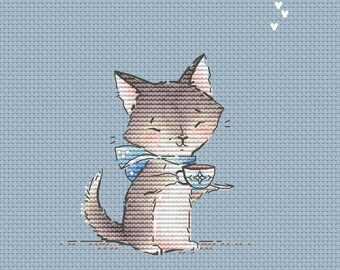 Kitten with cup of tea pdf counted cross stitch pattern gray cat instant download pdf pattern cross stitch for nursery cute kitty pattern