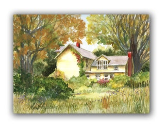 The Yellow House Art Original Watercolor Painting  LLMartin  Virginia Country