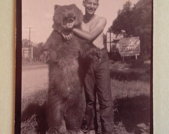 Greeting Card Vintage Photo Boy with Bear Greeting Card and Envelope Blank Inside