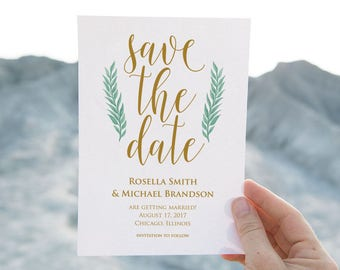 Gold, Save the Date Template, Save the Date Cards, Save the Date Printable, Rustic Save The Date, Wedding Template, PDF Template, LDS_158