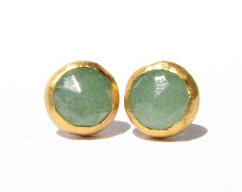 Rose cut Aventurine Gold Studs Earrings - 24k Solid Gold Post Earrings - Stone Earrings - 24k gold studs - Green earrings - Made to order.