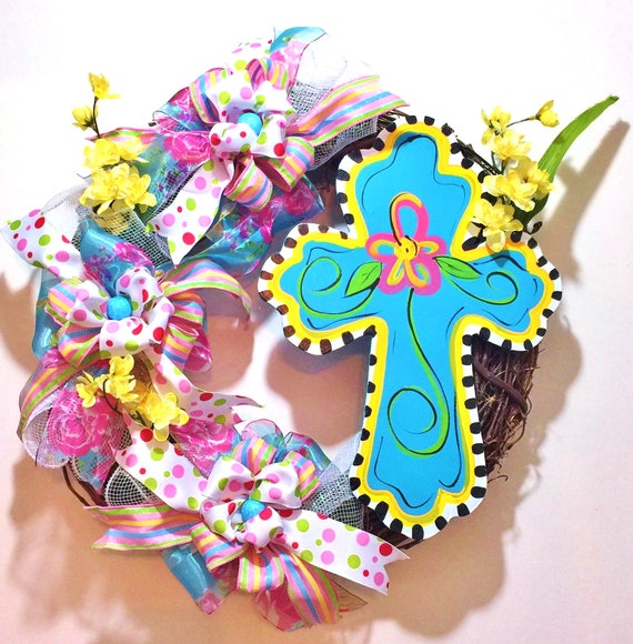 Spring Summer Blue Cross Floral Ribbons - Welcome Door Grapevine Wreath