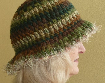 Original winter hat in greens and brown, unique Bohemian hat with a brim, women's crochet hat that's chic and comfortable, great sun hat