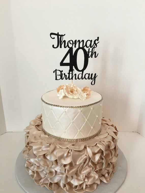 ANY NAME NUMBER black Glitter 40th Birthday Cake Topper 40