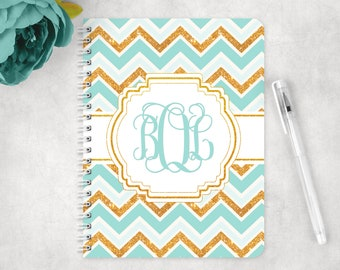 Personalized notebook in boho chic chevron glitter, glossy spiral notebook, custom notebook, school notebook, back to school supplies