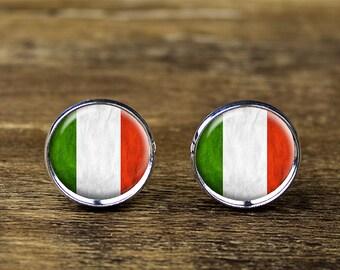 Italian flag cufflinks, Italy flag cufflinks, Italian flag jewelry, Italian cufflinks